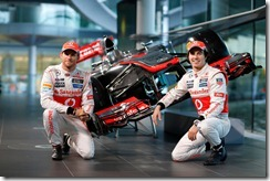 McLaren Technology Centre, Surrey, UK 31st January 2013  Jenson Button, McLaren and Sergio Perez, McLaren.  Photo: Vodafone McLaren Mercedes (Copyright Free FOR EDITORIAL USE ONLY)  ref: Digital Image _00P5532
