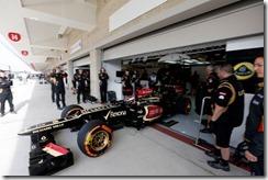 Circuit of the Americas, Austin, Texas, United States of America. Friday 15th November 2013. Heikki Kovalainen, Lotus E21 Renault, leaves the garage.  Photo: Andrew Ferraro/Lotus F1 Team.  ref: Digital Image _79P9757