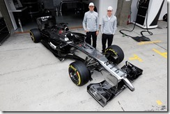 Jenson Button and Kevin Magnussen with the MP4-29.