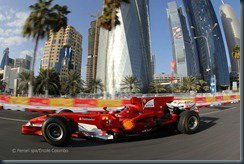 Marc Gené with Ferrari at the live street demo in Doha, Qatar.