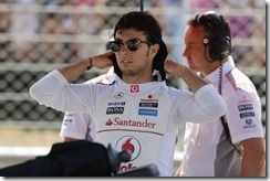 Sergio Perez on the start grid