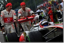 Jenson Button arrives on the grid