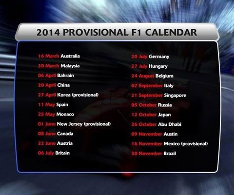 F1 2014 calendar now features only 19 races - The F1 News