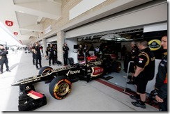 Circuit of the Americas, Austin, Texas, United States of America. Friday 15th November 2013. Heikki Kovalainen, Lotus E21 Renault, leaves the garage.  Photo: Andrew Ferraro/Lotus F1 Team.  ref: Digital Image _79P9757