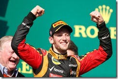 Circuit of the Americas, Austin, Texas, United States of America. Sunday 17th November 2013.  Romain Grosjean, Lotus F1, 2nd position, arrives on the podium. Photo: Andrew Ferraro/Lotus F1 Team.  ref: Digital Image _79P4264