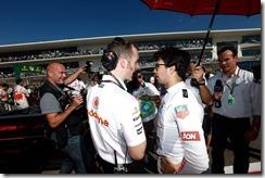 Sergio Perez on the grid