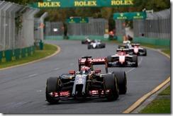 Albert Park, Melbourne, Australia. Sunday 16 March 2014.  Romain Grosjean, Lotus E22 Renault, leads Max Chilton, Marussia MR03 Ferrari. Photo: Andrew Ferraro/Lotus F1 Team.  ref: Digital Image _FER5818