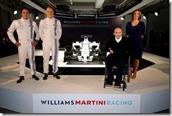 Williams Martini Racing Launch. 6th March 2014. Felipe Massa, Valtteri Bottas, Sir Frank Williams and Claire Williams. Photo: Williams Martini Racing. ref: Digital Image _89P9303