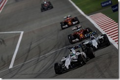 Bahrain International Circuit, Sakhir, Bahrain. Sunday 6 April 2014. Felipe Massa, Williams FW36 Mercedes, leads Valterri Bottas, Williams FW36 Mercedes, and Fernando Alonso, Ferrari F14T. Photo: Sam Bloxham/Williams F1. ref: Digital Image _SBL9137