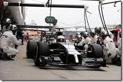 Kevin Magnussen makes a stop.