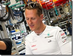 Michael Schumacher und Nico Rosberg zu Besuch bei Mercedes-AMG in Affalterbach