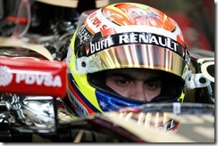 Bahrain International Circuit, Sakhir, Bahrain. Sunday 6 April 2014. Pastor Maldonado, Lotus F1. Photo: Alastair Staley/Lotus F1 Team. ref: Digital Image _79P0187