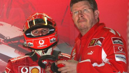Ross Brawn with Michael Schumacher