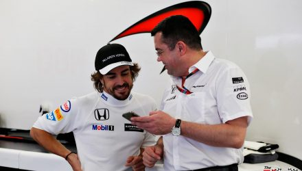 Eric Boullier with Fernando Alonso