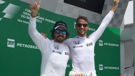 Alonso with Button on Brazilian Podium