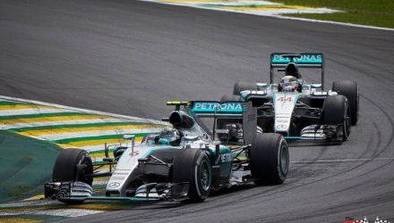 Nico Rosberg with Lewis Hamilton