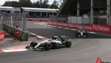 Nico Rosberg leads Lewis Hamiltom